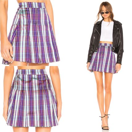 Flared Skirts Short Other Check Patterns Skirts