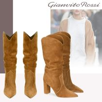 Gianvito Rossi Suede Elegant Style Chunky Heels High Heel Boots