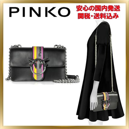 Stripes Studded Chain Plain Leather Elegant Style Crossbody