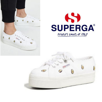 Round Toe Casual Style Unisex Street Style Low-Top Sneakers