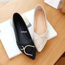 Casual Style Faux Fur Plain Slip-On Shoes