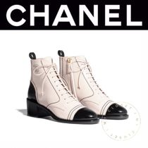 CHANEL Plain Toe Lace-up Casual Style Street Style Plain Leather