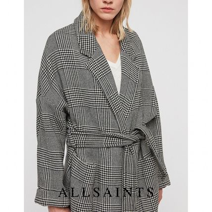 Glen Patterns Zigzag Casual Style Wool Long Wrap Coats