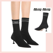 MiuMiu Pin Heels Elegant Style Ankle & Booties Boots
