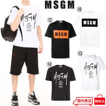 MSGM Crew Neck Street Style Plain Cotton Short Sleeves