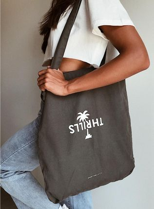 Casual Style Unisex Canvas Street Style A4 Plain Logo Totes