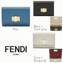 FENDI PEEKABOO Plain Leather Folding Wallets