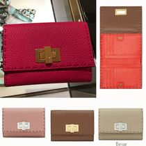 FENDI SELLERIA Plain Leather Long Wallets