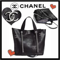 CHANEL ICON Casual Style Unisex Calfskin Studded A4 2WAY Plain Totes