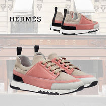 HERMES Rubber Sole Lace-up Casual Style Suede Street Style Bi-color