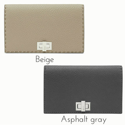 FENDI SELLERIA Casual Style Plain Leather Clutches