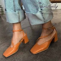 Square Toe Casual Style Plain Block Heels