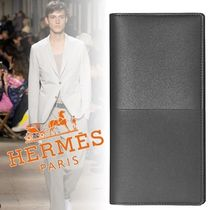 HERMES Calfskin Blended Fabrics Bi-color Plain Long Wallets