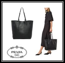 PRADA CONCEPT  Casual Style Calfskin A4 Plain Oversized Totes