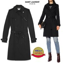 Saint Laurent Plain Medium Office Style Trench Coats