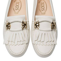 TOD'S Moccasin Round Toe Rubber Sole Suede Blended Fabrics Plain