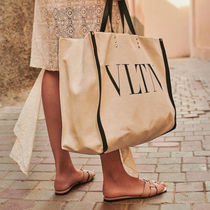 VALENTINO Casual Style Canvas Blended Fabrics Studded A4 Bi-color