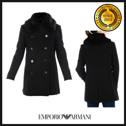 Casual Style Wool Plain Medium Coats