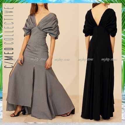 Other Check Patterns Maxi V-Neck Plain Long Dark Brown