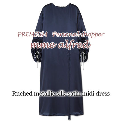 Casual Style Silk Long Sleeves Plain Long Dresses