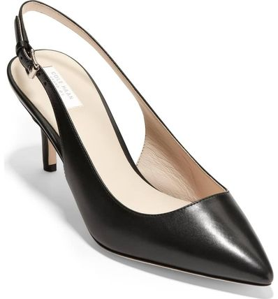 Plain Leather Office Style Pointed Toe Pumps & Mules