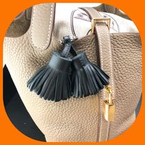 HERMES Picotin Plain Leather Fringes Keychains & Bag Charms