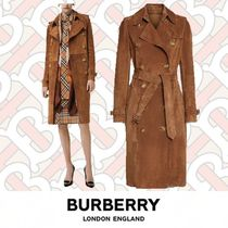 Burberry Casual Style Suede Plain Medium Trench Coats