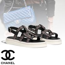 CHANEL Other Check Patterns Platform Round Toe Tweed Studded