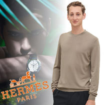 HERMES Wool Long Sleeves Plain Knits & Sweaters