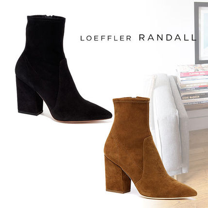 Suede Plain Elegant Style Chunky Heels Ankle & Booties Boots