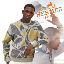 HERMES Long Sleeves Plain Sweatshirts