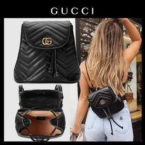 0937171a4246 GUCCI GG Marmont Casual Style Leather Backpacks
