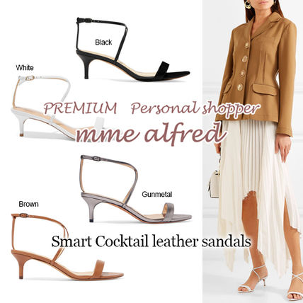 Open Toe Casual Style Plain Leather Pin Heels Heeled Sandals