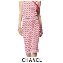 CHANEL Casual Style Cotton Medium Midi Skirts