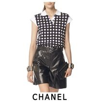 CHANEL Other Check Patterns Cotton Elegant Style Shirts & Blouses