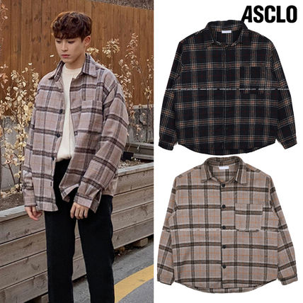 ASCLO Shirts Tartan Unisex Wool Street Style Long Sleeves Oversized