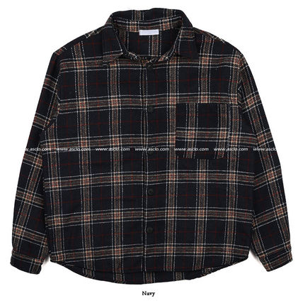 ASCLO Shirts Tartan Unisex Wool Street Style Long Sleeves Oversized 19