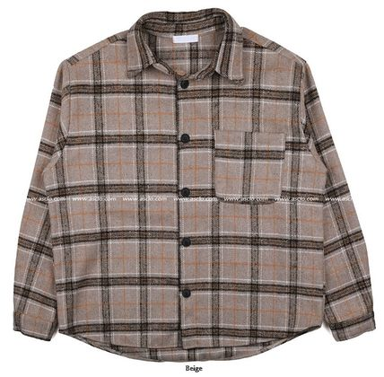 ASCLO Shirts Tartan Unisex Wool Street Style Long Sleeves Oversized 20