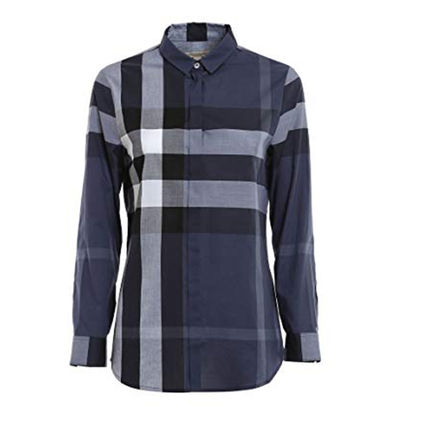Other Check Patterns Long Sleeves Cotton Shirts & Blouses