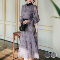 Flower Patterns Flared Long Sleeves Medium Midi Lace
