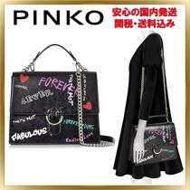 PINKO Heart 2WAY Chain Leather Elegant Style Shoulder Bags
