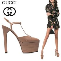 GUCCI Platform Plain Leather Platform Pumps & Mules
