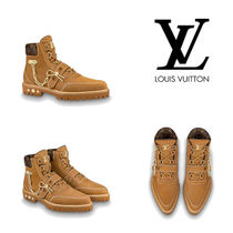 Louis Vuitton Monogram Blended Fabrics Chain Plain Leather U Tips Boots