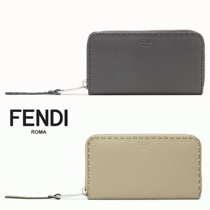 FENDI SELLERIA Plain Leather Long Wallet  Long Wallets