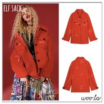 ELF SACK Star Casual Style Street Style Oversized Jackets