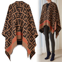 FENDI Stripes Monogram Wool Ponchos & Capes