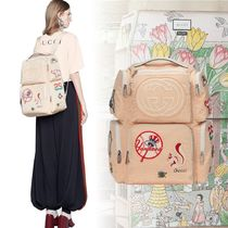 GUCCI Flower Patterns Unisex Street Style Collaboration Backpacks