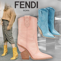 FENDI Cowboy Boots Casual Style Leather High Heel Boots