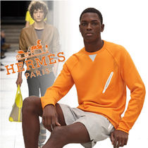 HERMES Street Style Long Sleeves Plain Cotton Sweatshirts