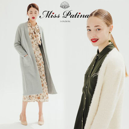 Long Sleeves Plain Long Elegant Style Cardigans